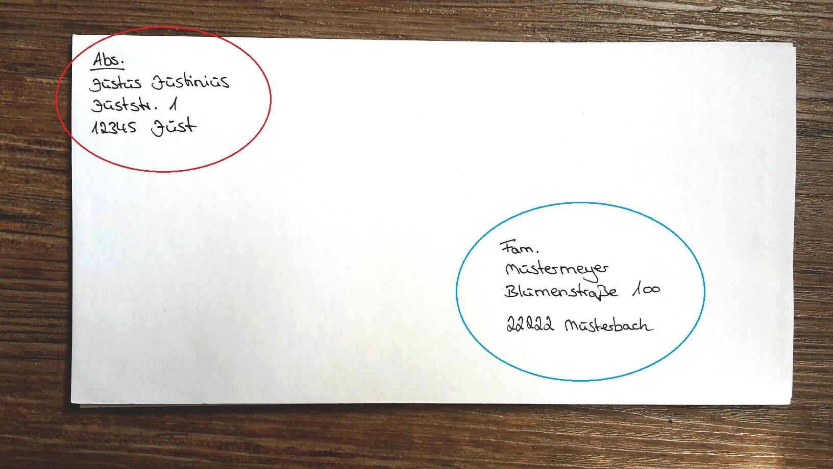 Brief Beschriften Absender Empfänger